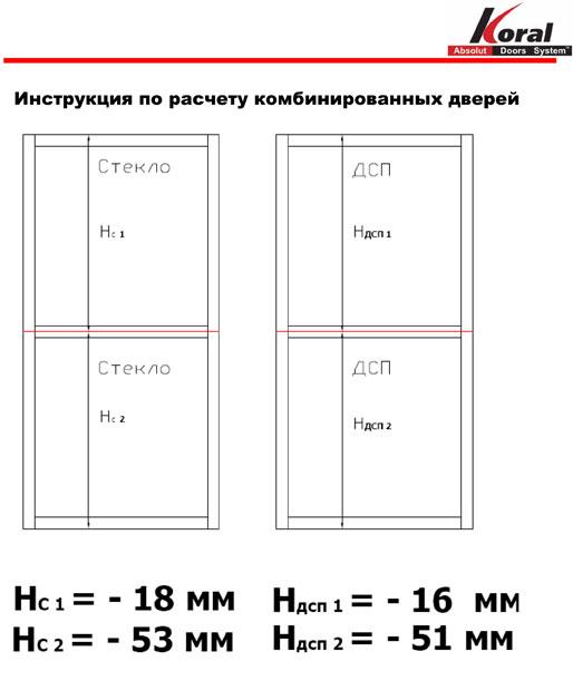 Инструкция по расчету комбинированных дверей.